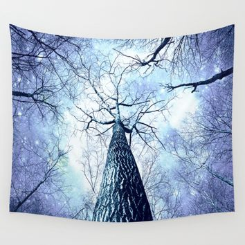 Wintry Trees Periwinkle Ice Blue Space Wall Tapestry by 2sweet4words Designs