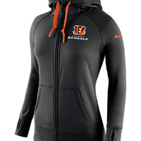 Nike Warpspeed All Time Full-Zip (NFL Bengals) Women's Training Hoodie Size S (Black/Brilliant Orange)