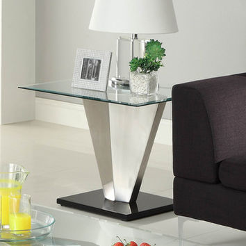 Homelegance Silverstone Square Glass End Table w/ Brushed Chrome Base