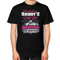I'm not just a Daddy's Little Girl I am a Veteran's Daughter Unisex T-Shirt (on man)