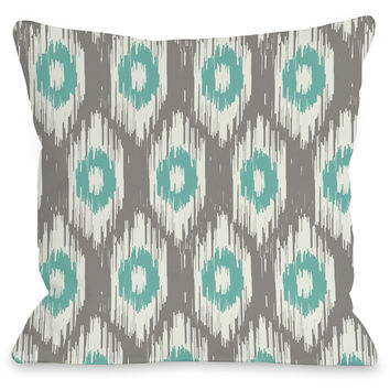 """Kelly Ikat"" Indoor Throw Pillow by OneBellaCasa, Gray/Turquoise, 16""x16"""
