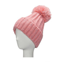 Pink Beanie Hat with Fur Pom