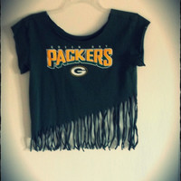 Green Bay summer grunge fringe shirt,