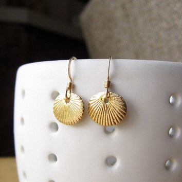 Gold Sea Shell Round Disc Earrings - modern everyday wear by Yameyu