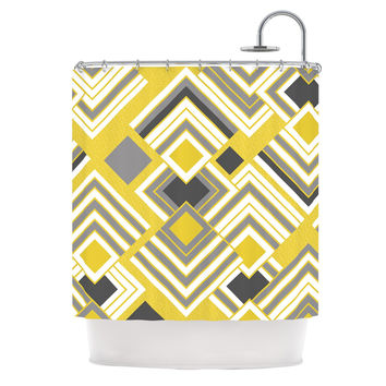 "Jacqueline Milton ""Luca - Gold"" Yellow Gray Shower Curtain"