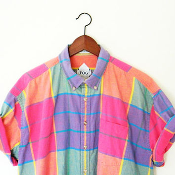 Mens Vintage London Fog Sherbet Plaid Shirt / Vintage Rainbow Plaid Button Up / Oversized Plaid Shirt / 80s Colorblock Shirt / Size X Large