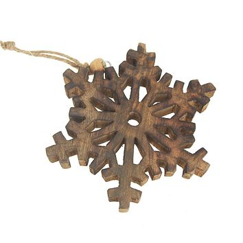 Hanging Wood Fern-like Stellar Dendrite Snowflake Christmas Tree Ornament, Natural, 5-3/4-Inch