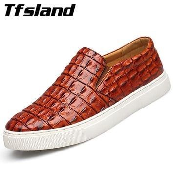 Tfsland Luxury Men Soft Crocodile Leather Driving Shoes New Spring Breathable Slip on Flats Walking Shoes Sneakers Plus Size 47