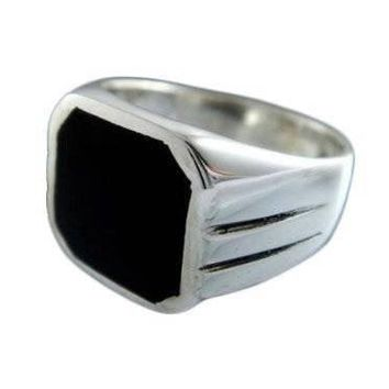 925 Sterling Silver Men's Square Black Onyx Stone Classic Band Ring, 11gr