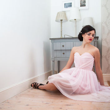 Sweetheart chiffon Short Front Low Back  Dress  - Wedding, Evening, Home coming Grecian gown UK Ethical Designer ANY COLOUR