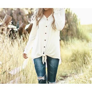 Livin' Life Button Down Tie Front Top