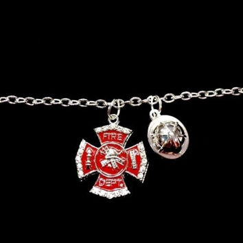 Red Maltese Cross Helmet Fire Wife Firefighter Wife Fireman Charm Bracelet