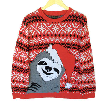 Alex Stevens Sloth Tacky Ugly Christmas Sweater
