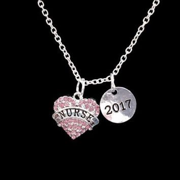 Pink Nurse Class Of 2017 Graduation Gift Charm Necklace