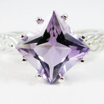 Lavender Amethyst Braided Ring, 925 Sterling Silver, February Birthstone Ring, Braided Sterling Ring, Princess Cut Ring, Square Ring