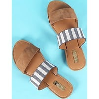 Double Band Slip On Sandals - Stripes