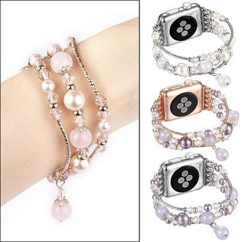 Lady Luxury Diamond Crystal Agate Jewellery Watch Band Strap for Apple Watch 38mm / 42mm