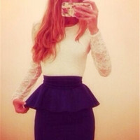 White Floral Lace Long-sleeve Top with Linning Peplum Dress Royal Blue