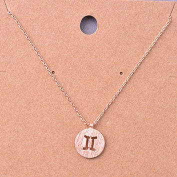 Gemini Rose Gold Zodiac Charm Necklace