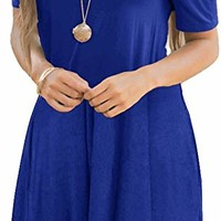 Women's Cold Shoulder Dresses with Pockets Loose Strappy T Shirt Swing Dress