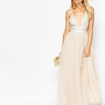 Needle & Thread Embellished Plunge V Neck Tulle Skirt Maxi Dress