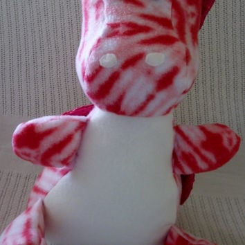 Handcrafted Stuffed Pink and White Dragon With Shiny Pink Wings