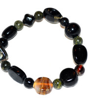 Bracelet Shades and Shapes of Black Glass Beads