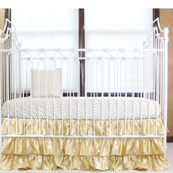 Gold and White Ruffle Gold Dot | Crib Baby Bedding Set