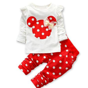 Free shipping Spring/Autumn Kids Clothes Child  Baby Girls Cartoon Dots Cotton Set Children Clothing Sets of Girl