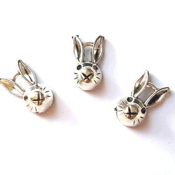 Pack of 10 Silver Bunny Rabbit Charms. 7mm x 13mm x 5mm. HOLELESS Animal Pendant.  Perfect for Scrapbooking, Earrings, Bracelet & Necklace