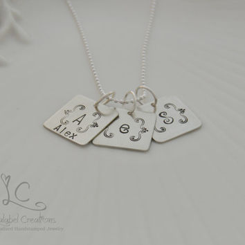 Bracket Monogram Necklace, Bracket Initial Charm Necklace, Personalized Initial Jewelry, Hand Stamped Personalized Gifts