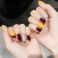 Bright yellow and wine red hit pure color with lattice pattern fake nails Japanese cute false nails lady full nail tips acrylic