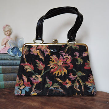 Black Floral Needlepoint Purse - Vintage 1960s - Rich Dark Colors