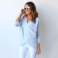 Women's Fall Fashion V-neck Winter Sweater [9150488519]