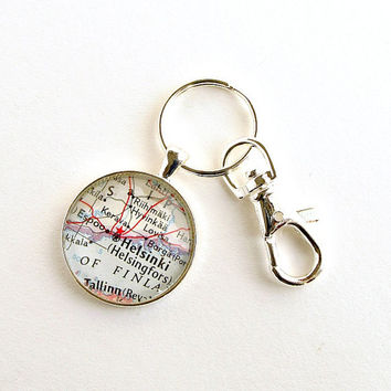 Helsinki Map Keychain / Finland Map Keyring / Gifts under 25 / Christmas Gifts for Men / Gifts for Dad / Stocking Stuffer Ideas / Map Gifts