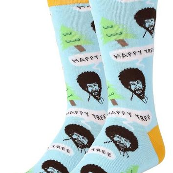 Bob Ross Happy Trees Men's Crew Socks
