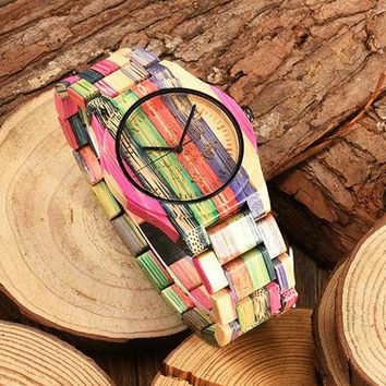 Men's Full Painted Bamboo Wood Strap Analog Movement Quartz Casual Wrist Watch