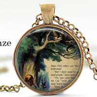 Alice In Wonderland Necklace, Cheshire Cat, Book, Literary Quote, We're All Mad Here, Wonderland, Steampunk, Once Upon a Time