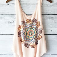 Henna Lotus Elephant Tank Top in Peach