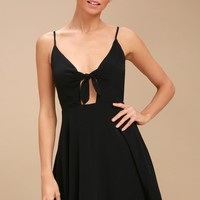 Play It Cool Black Tie-Front Skater Dress