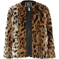 River Island Girls brown faux fur animal print bomber coat