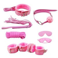 7PCS Pink Fur Bondage Fetish Whip Rope Blindfold Cuffs Ball Gag Gay Sex Toy
