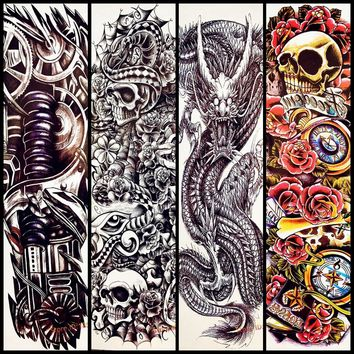 Skull Rose Flower Design Big Body Arm Tattoo Sleeve For WOmen Men AQB-022 Fake Waterproof Dragon Temporary Full Tattoo Stickers
