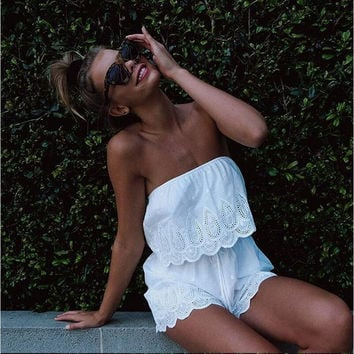 White Lace Design Wrapped Chest Top with Shorts