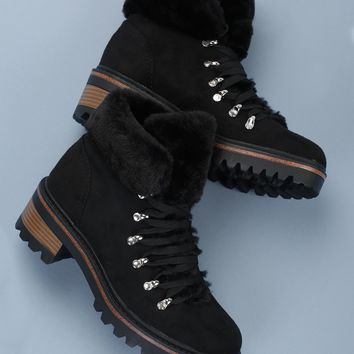 Lace Up Faux Fur Trimmed Hiking Boots