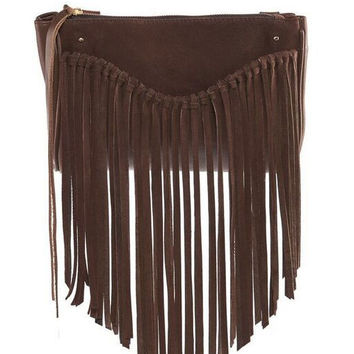 Sancia || Talitha suede clutch in tobacco