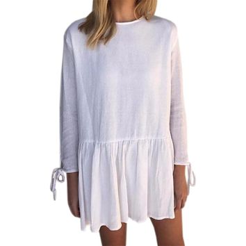 Women's White Baby Doll Ruffle Tunic Style Long Sleeve Mini Dress with Ties and Back Button Detail