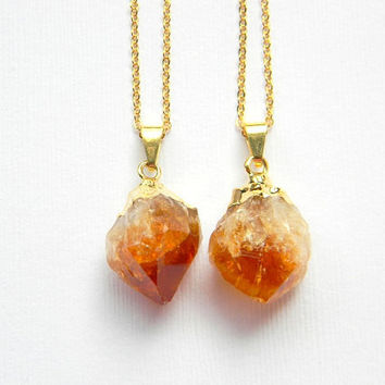 Citrine Necklace - Citrine Crystal Point Necklace - Gold Dipped Necklace - Layering Necklace - Bohemian Necklace - Boho Necklace