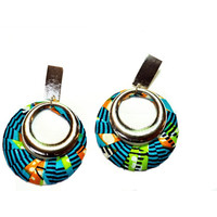 Silver with African Fabric in Blue Dangle Earrings
