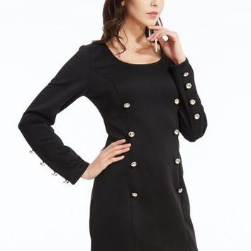 Plain Round Neck Double-Breasted Bodycon Dress